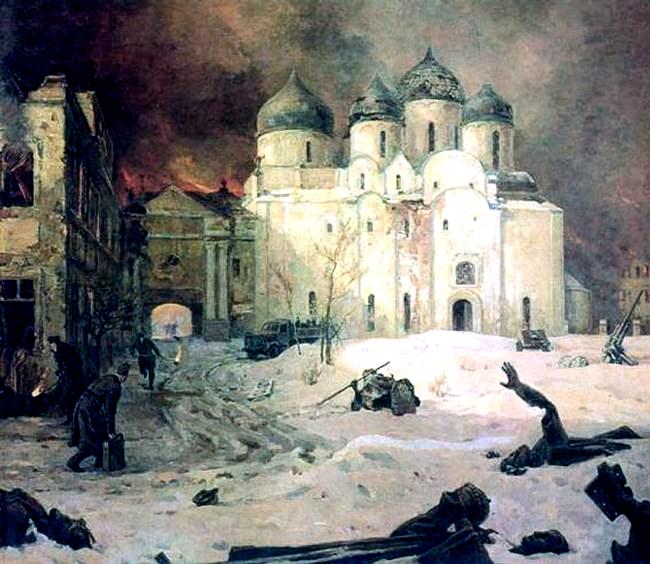 M. Kupriyanov., P. Krylov., N. Sokolov. Fashists leaving Novgorog