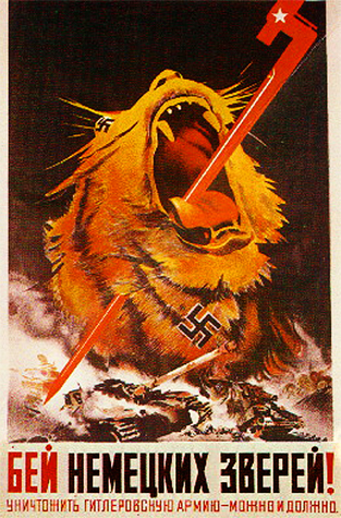 Fight German animals! We can and must destroy Hitler's army.