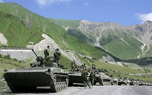 Russian armored column on the mountain highway to Zhinvali