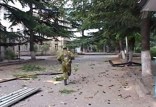 South Osetian guardsman on the street of Zhinvali