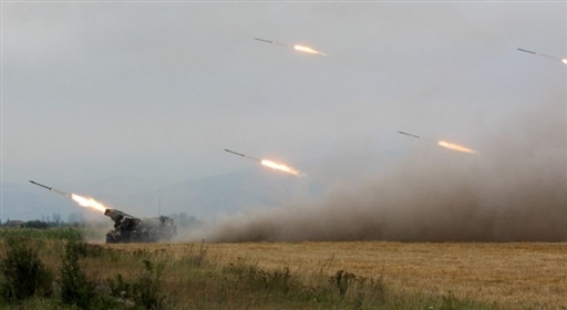 Georgian rocket artillery fires on Zhinvali