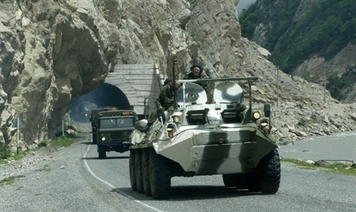 Russian armor near the Roksky tunnel on the border with South Ossetia