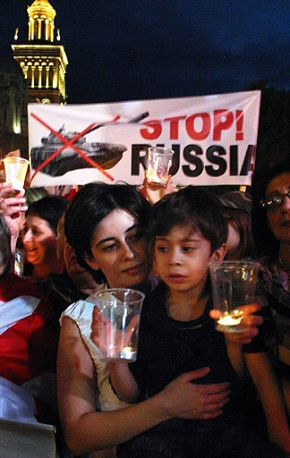 The anti-war demonstration near the Russian embassy in Tbilisi