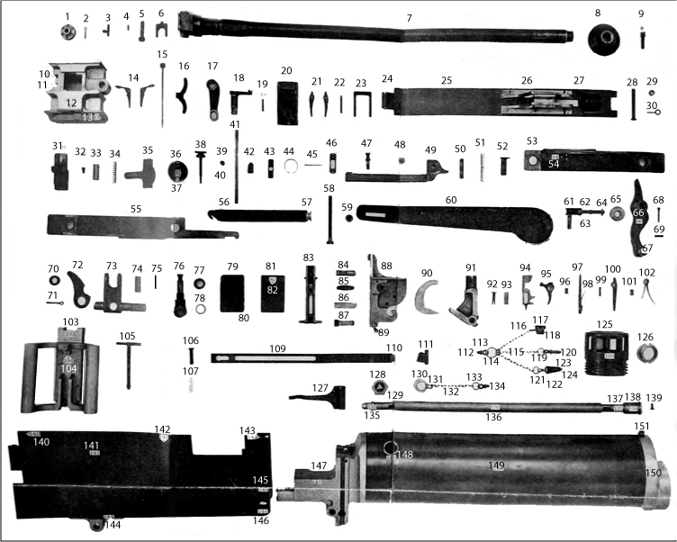 Plate II. Componen parts of gun