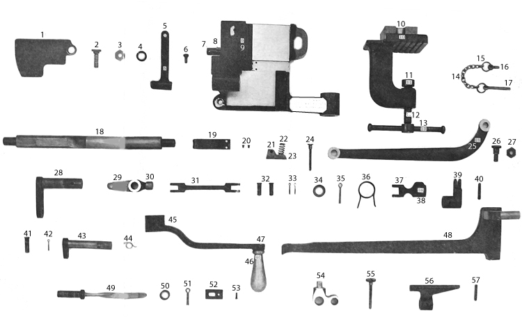 Plate V. Component parts of belt-filling machine