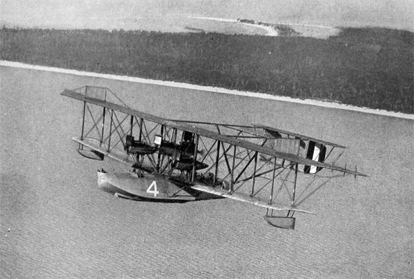 THE NC 4, LIBERTY-ENGINE-DRIVEN CONQUEROR OF THE ATLANTIC, IN FLIGHT AT PENSACOLA, FLORIDA.