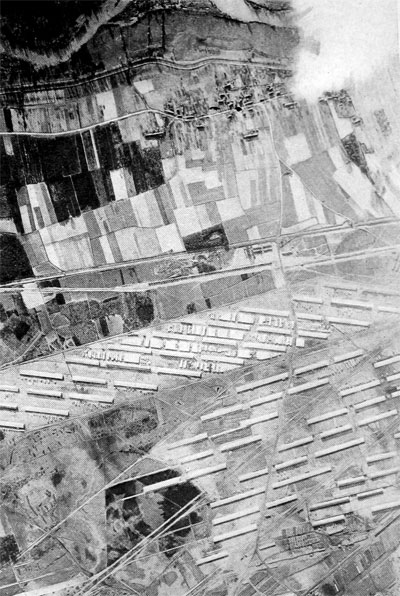 Partial View From the Air of the Vast American Air Service Assembly Repair and Salvage Shops at Romorantin, France U. S. Air Service Photo