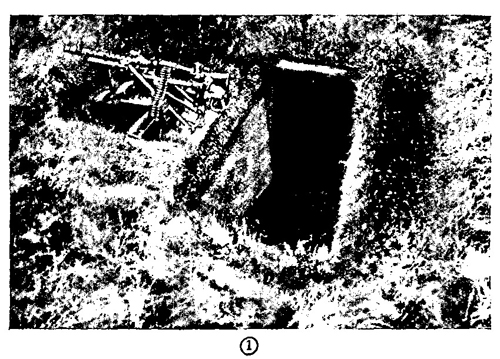 Figure 43.—Three-man foxhole for heavy machine gun, with dugout.