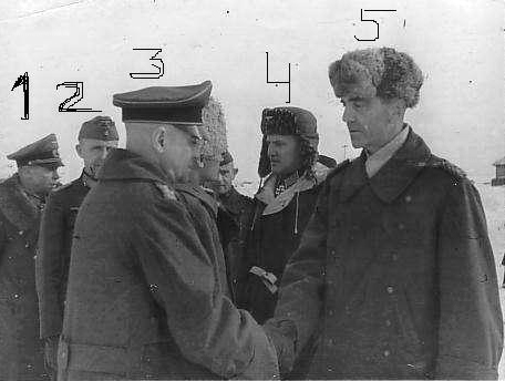 February 4 1943. Paulus meets with other German generals, captured in Stalingrad. 1. Generalleutnant Alexander Edler von Daniels. 2. Generalleutnant Hans-Heinrich Sixt von Arnim. 3. Generaloberst Walter Heitz. 4. Oberst Wilhelm Adam. 5. Generalfeldmarschall Friedrich Paulus