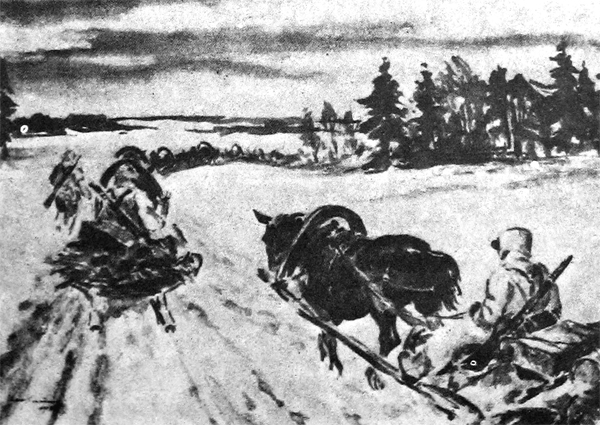 GERMAN SUPPLY COLUMN using Russian Panje sleighs