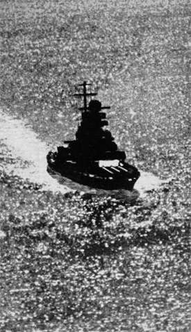 Admiral Scheer in 1941 as seen from Scheer's Arado seaplane