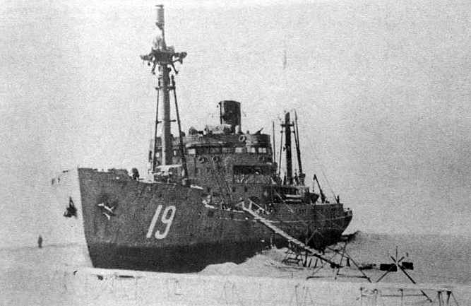 Icebreaker Dezhnev (SKR-19) in winter harbor