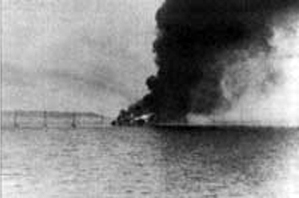Sibiriakov on fire, photo taken from Admiral Scheer, Beluha island on the background