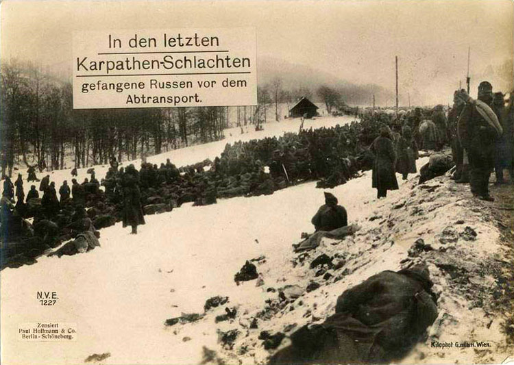 Last battles in Carpathian Mountains: Russian POWs before the evacuation.