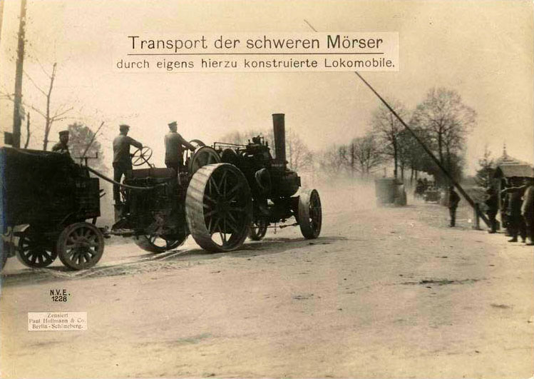 Transport of the heavy mortars by specially designed lokomobile.