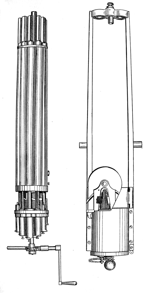Fig.3, 4. Gatling gun and its frame