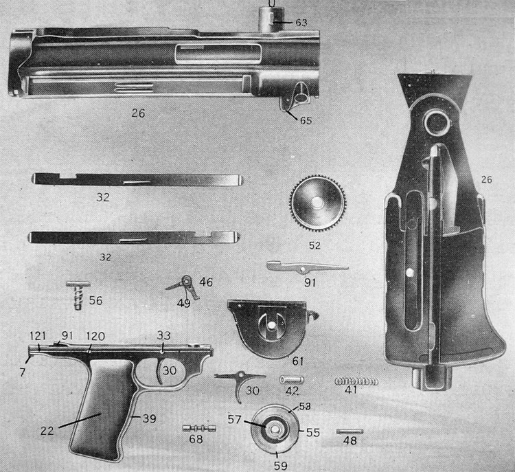 PLATE 3.—Gun Parts: Receiver Group, Mainspring and Trigger Mechanism