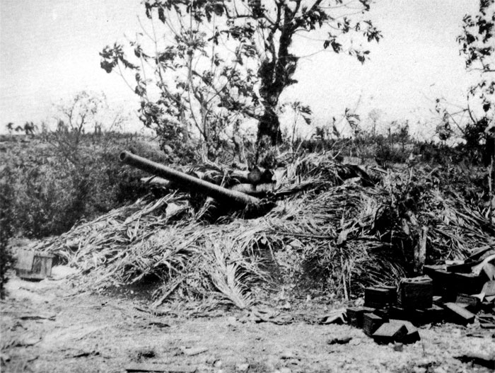 120-mm gun in position on Guam