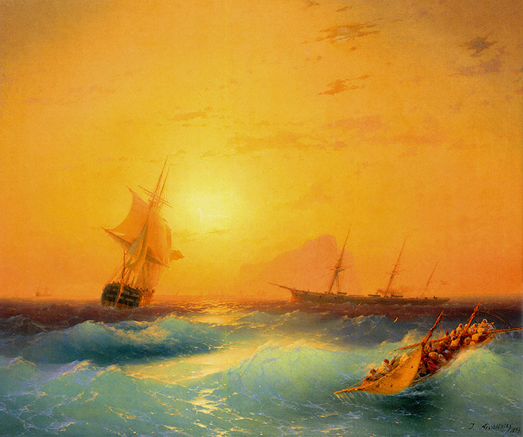 Image result for ship golden sea painting